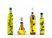 Homemade oil with herbs stock photography