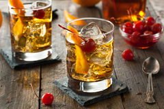Homemade Old Fashioned Cocktail. With Orange and Cherries stock photography