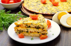 Homemade omelet with herbs and vegetables Stock Photos