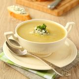 Homemade onion soup with celery and blue cheese Royalty Free Stock Images