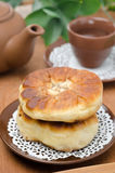 Homemade open meat pies (belyashi) closeup Stock Image