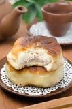 Homemade open meat pies (belyashi) closeup in cut Stock Photo