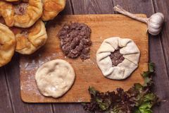 Homemade open meat pies Royalty Free Stock Photography