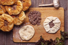 Homemade open meat pies Stock Photo