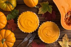 Homemade open pumpkin pies for Thanksgiving served with forks, b Royalty Free Stock Image
