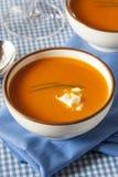 Homemade Orange Carrot Soup Stock Photos
