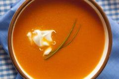 Homemade Orange Carrot Soup Stock Photography