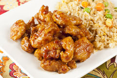 Homemade Orange Chicken with Rice. On a background Stock Images