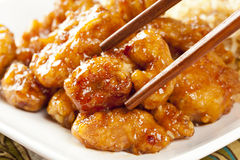 Homemade Orange Chicken with Rice. On a background Royalty Free Stock Photos