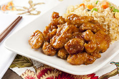 Homemade Orange Chicken with Rice. On a background Stock Photos