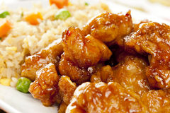 Homemade Orange Chicken with Rice Royalty Free Stock Photo