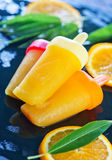 Homemade orange icecream Stock Images