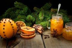 Homemade orange jam royalty free stock photos