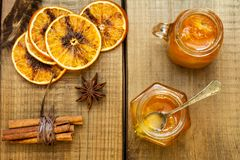 Homemade orange jam stock photography