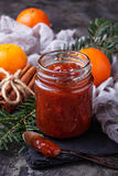 Homemade orange jam with tangerine. Selective focus Royalty Free Stock Photos