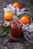 Homemade orange jam with tangerine. Selective focus Royalty Free Stock Images