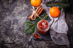 Homemade orange jam with tangerine. Selective focus Royalty Free Stock Image