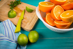 Homemade orange and lemon juice Royalty Free Stock Photography