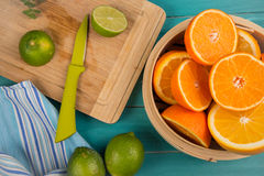 Homemade orange and lemon juice Stock Photography