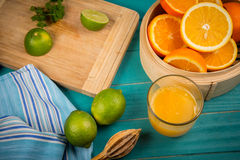 Homemade orange and lemon juice Stock Photo
