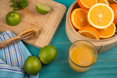 Homemade orange and lemon juice Stock Images