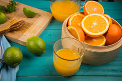 Homemade orange and lemon juice Royalty Free Stock Photos