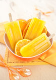 Homemade orange popsicles Royalty Free Stock Images