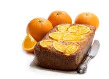Homemade orange syrup cake isolated on white. Homemade  orange syrup cake isolated on white stock photos
