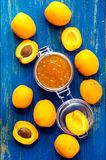 Homemade organic apricots jam Stock Photo