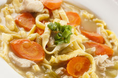 Homemade Organic Chicken Noodle Soup Stock Photo