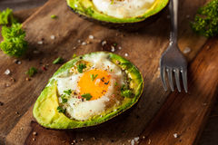 Homemade Organic Egg Baked in Avocado Royalty Free Stock Photography