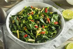 Homemade Organic Green Collard Greens. With Pepper and Ginger Stock Photography