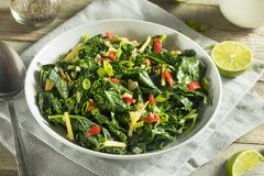 Homemade Organic Green Collard Greens. With Pepper and Ginger Stock Photo