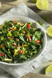Homemade Organic Green Collard Greens. With Pepper and Ginger Stock Image