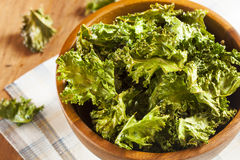 Homemade Organic Green Kale Chips Royalty Free Stock Image