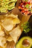 Homemade Organic Guacamole and Tortilla Chips Royalty Free Stock Photography