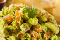 Homemade Organic Guacamole and Tortilla Chips Stock Photos