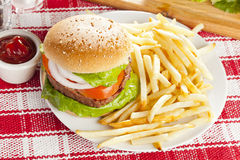 Homemade Organic Hamburger Royalty Free Stock Image
