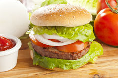 Homemade Organic Hamburger Stock Photo