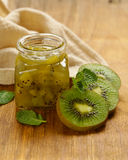 Homemade organic jam of kiwi. Royalty Free Stock Photography