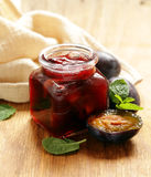 Homemade organic jam of plum. Royalty Free Stock Photography