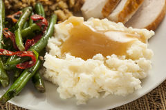 Homemade Organic Mashed Potatoes with Gravy Royalty Free Stock Photography