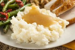 Homemade Organic Mashed Potatoes with Gravy Stock Image