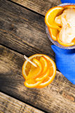 Homemade organic orange ice cream with fresh fruit slices Stock Photos