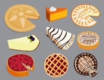 Homemade organic pie dessert vector illustration fresh golden rustic gourmet bakery. stock illustration