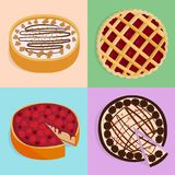 Homemade organic pie dessert vector illustration fresh golden rustic gourmet bakery. royalty free illustration