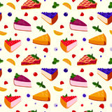 Homemade organic pie tart dessert vector illustration seamless pattern background Royalty Free Stock Photo