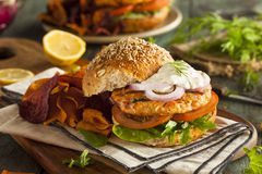Homemade Organic Salmon Burger Stock Photography
