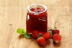 Homemade organic strawberry jam. Royalty Free Stock Images