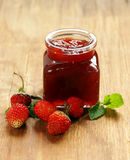 Homemade organic strawberry jam. Stock Images